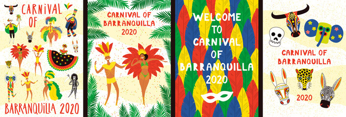 Set of Carnival of Barranquilla posters with dancing people in traditional costumes, animal masks, colorful feathers, text. Hand drawn vector illustration. Flat style design. Concept for flyer, banner