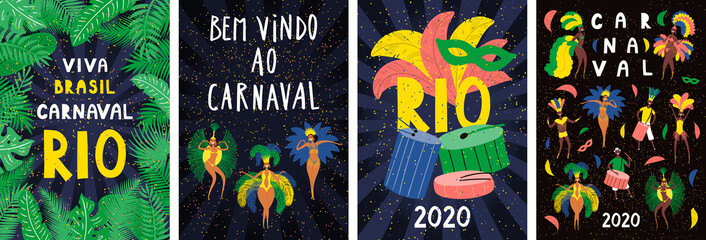 Set of posters with dancing people in bright costumes, feathers, Portuguese text Bem vindo ao Carnaval, Welcome to Carnival. Hand drawn vector illustration. Flat style design. Concept flyer, banner.