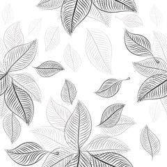 Abstraction from skeleton monochrome leaves. Seamless background. Vector illustration