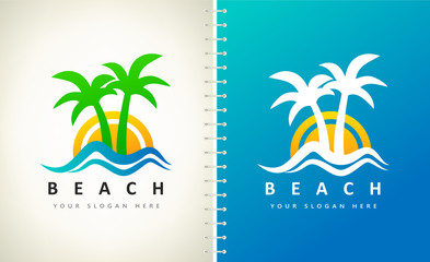 Oasis and beach logo vector. Palm tree, wave, sea and sun.