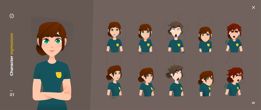 Cartoon Woman Character Expressions. Face Emotional and Body Gesture