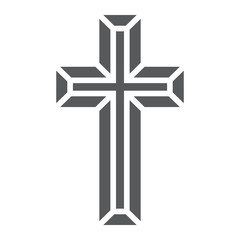 Religious cross glyph icon, religion and prayer, christ sign, vector graphics, a solid pattern on a white background, eps 10.