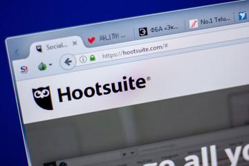 Ryazan, Russia - June 05, 2018: Homepage of Hootsuite website on the display of PC, url - Hootsuite.com.