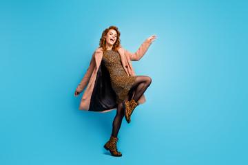 Full length photo of positive cheerful woman moving like dj dancing scream wear season warm jacket...