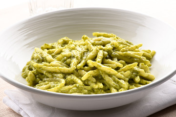 Foto auf AluDibond Ligurien Trofie al pesto from the Liguria region of Italy