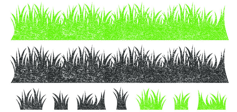 Vector green lawn grass texture illustration: natural, organic, bio, eco label and shape on white background. Ground land grunge pattern.