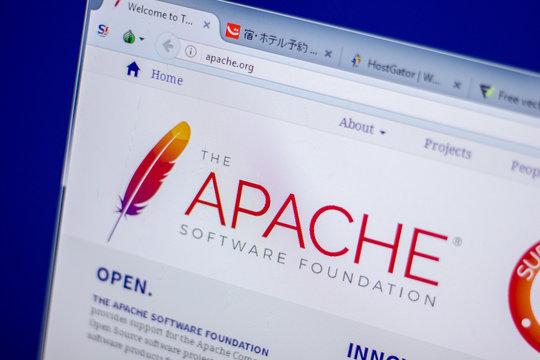 Ryazan, Russia - June 05, 2018: Homepage of Apache website on the display of PC, url - Apache.org.