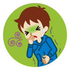 Toddler boy suffering from nausea - flu symptom clip art,  circular icon