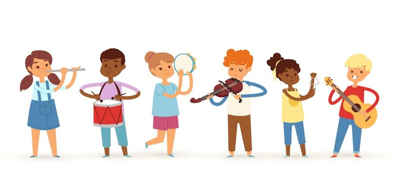 Cartoon musician kids, vector illustration for children music. Boys and girls music band isolated on white background. Set of cute school musical student with drum, guitar, violin, flute instruments.