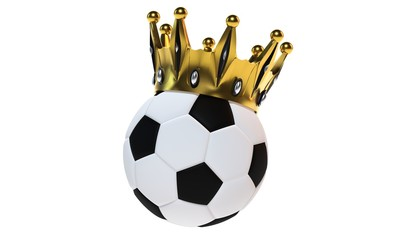 Qoccer ball with crown isolated on white