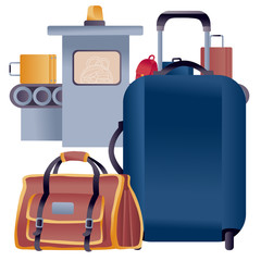 luggage from a suitcase and a large bag for hand luggage stands in front of the tape on which suitcases and bags are checked,