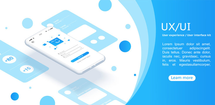 Isometric concept design for an application, Ui UX design.Web design and mobile template. Interface design.
