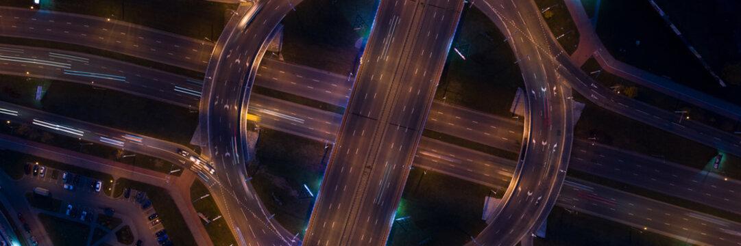 Night city bsckroun scene top view. Road junction concept