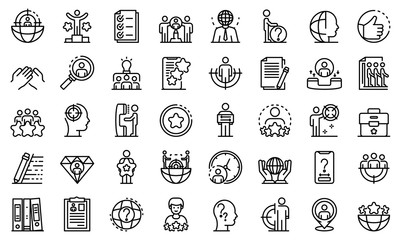 Headhunter icons set. Outline set of headhunter vector icons for web design isolated on white background
