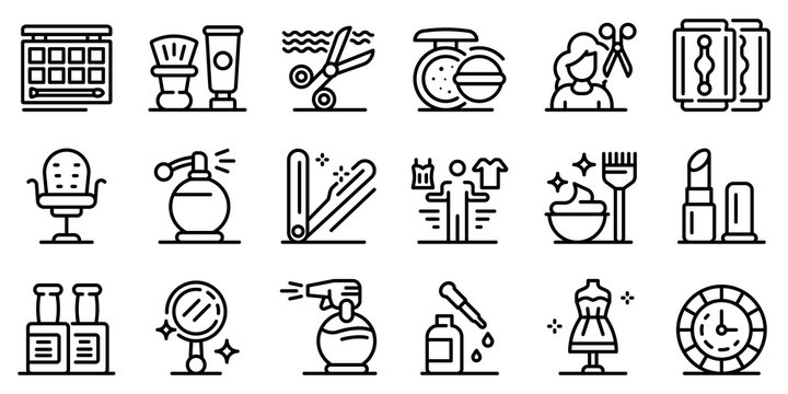 Stylist icons set. Outline set of stylist vector icons for web design isolated on white background