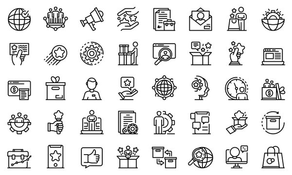 Product manager icons set. Outline set of product manager vector icons for web design isolated on white background