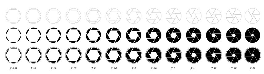 lens diaphragm f-number of camera shutter aperture positions. isolated on background. .