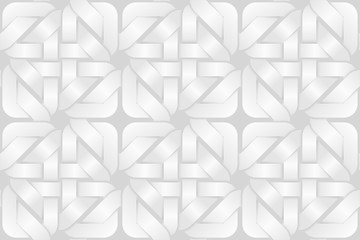 Vector seamless pattern of weaved square shaped bands. White background illustration.