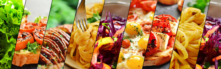 Assortment of vegetarian dishes. Food collage. Food close up. Vegetables, pasta, potatoes, bruschetta, salad. Variety of food.