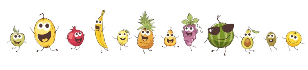 Funny cartoon fruits. Set vector illustrations with comic food.