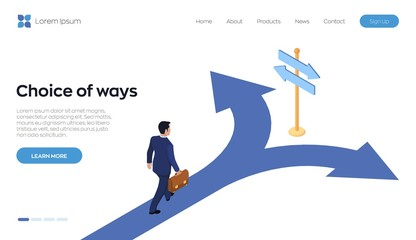 Choice process. Direction choose options, solution, decision. A businessman with a briefcase in hand is walking along the road to a crossroads. Business decision concept. Isometric vector illustration