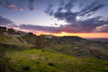 Deurstickers Landschappen Wonderful Sunset over Mazzarino, Caltanissetta, Sicily, Italy, Europe