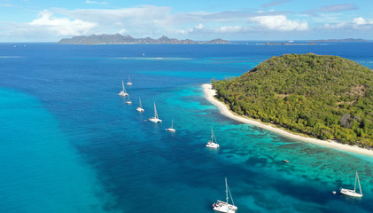 Caribbean sea and islands aerial view, St. Vincent, Grenadines,