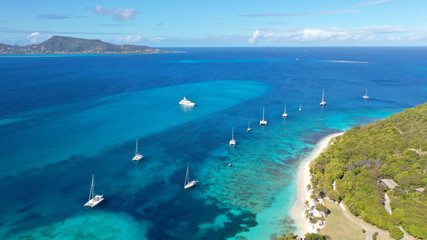 Caribbean islands and sea aerial views, St. Vincent and Grenadines