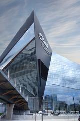 MINNEAPOLIS,MN/USA - 7-09-2018: View of US Bank Stadium, the home of the NFL Minnesota Vikings