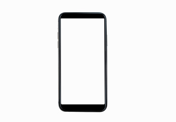 Black smartphone with blank screen isolated on white background. Mockup to showcasing mobile...
