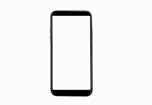 Black smartphone with blank screen isolated on white background. Mockup to showcasing mobile web-site design or screenshots your applications  - Clipping Path