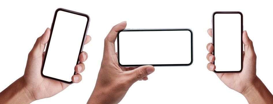 Hand holding the black smartphone iphone with blank screen and modern frameless design in two rotated perspective positions - isolated on white background  - Clipping Path