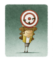 Business woman holds up a target that has three darts stuck. Human resources concept.