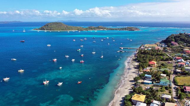 Caribbean Islands aerial view, Grenada and Grenadines