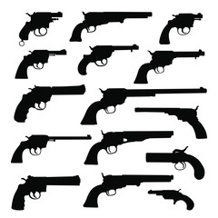 Set of various guns. Retro Weapon. Vector silhouettes isolated on white