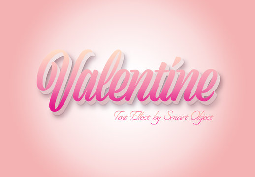 Valentine 3D Text Effect Mockup