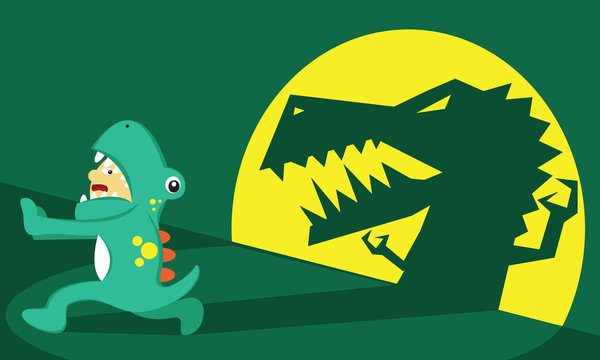 Illustration vector graphic of boy cartoon character wear dinosaur costume, afraid, fear and running from his own shadow. Good for children and educational product.