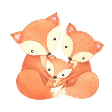 Watercolor woodland cute cartoon forest fox