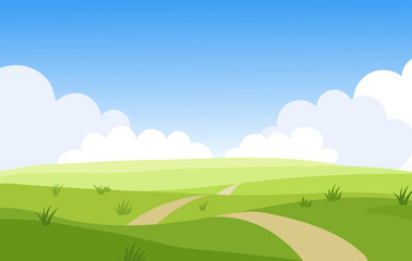 Beautiful summer grassy meadow landscape. Spring nature sunny day. Bright background with cloudy sky in the park, place for text. Cartoon vector illustration.