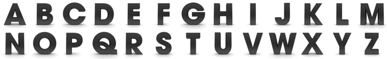 3d letters black signs alphabet capital characters set rendering