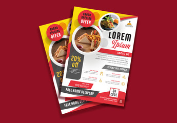Flyer Layout with Red and Yellow Accents and Round Photo Placeholder Elements