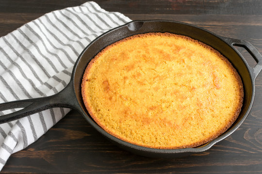 Buttermilk Cornbread: Traditional Southern cornbread baked in a cast iron skillet