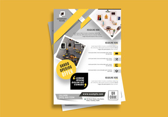 Flyer Layout with Gold and Gray Accents