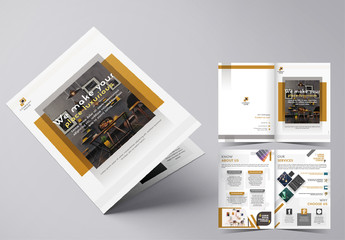 Bifold Brochure Layout with Gold and Gray Accents