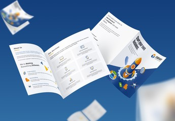 Blue and White Bifold Business Brochure Layout with Illustrations