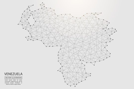 A map of Venezuela consisting of 3D triangles, lines, points, and connections. Vector illustration of the EPS 10.