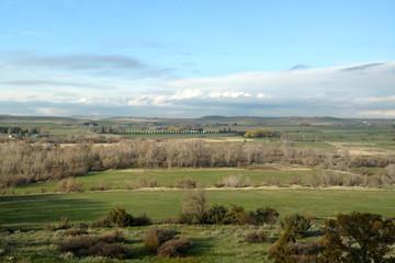 mountain hills countryside farms cloudy