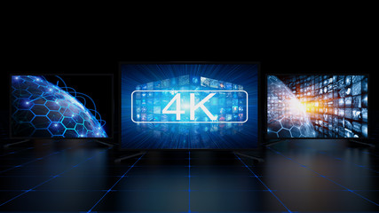 4k TV screens digital concept with technology images