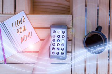 Writing note showing I Love You, Mom. Business concept for Loving message emotional feelings affection warm declaration