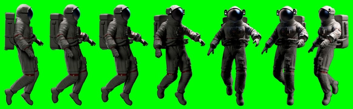 floating astronaut on a green screen various frontal  poses basic lateral light - 3d rendering